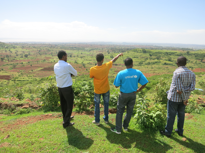 Overlooking the Aba Gerima Learning Watershed with broadened agricultural diversity and terracing reducing sediment flow to Lake Tana. © A. Dansie