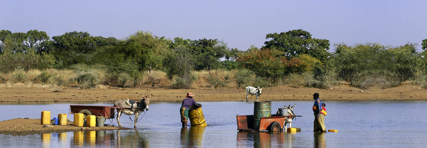 Women collect water for crop irrigation in Burkina Faso © Gilles Paire / Shutterstock