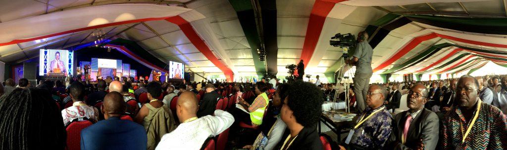 Delegates listen to former Prime Minister of Kenya, Raila Odinga