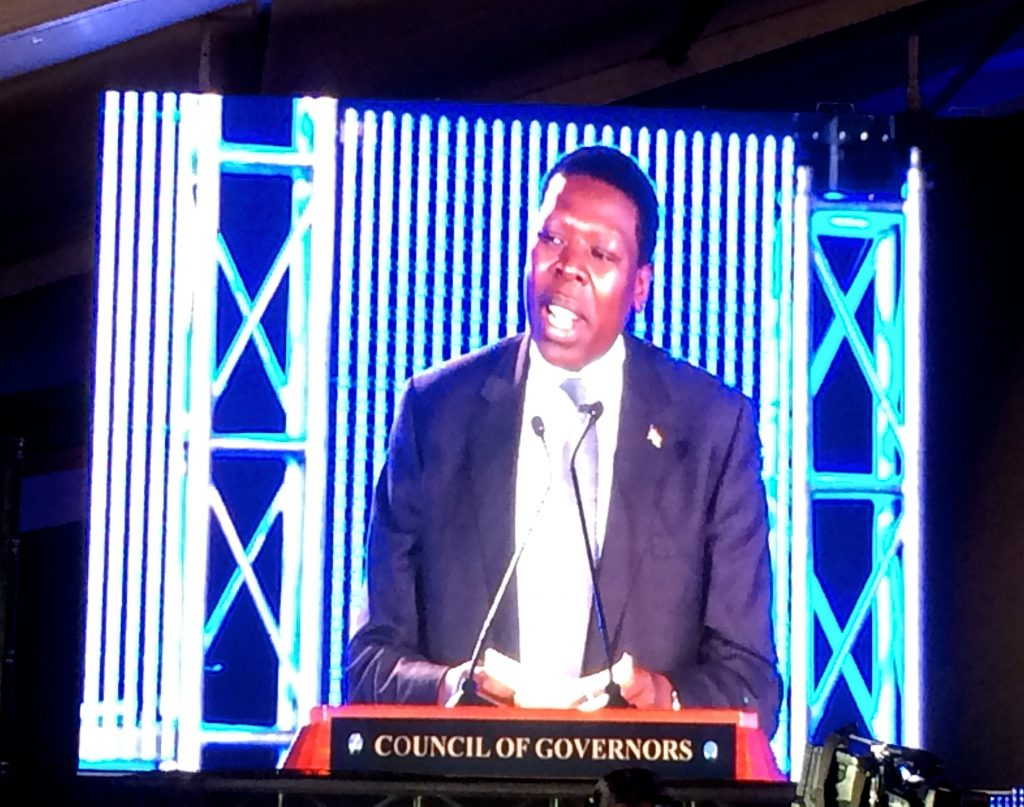Cabinet Secretary for Water and Irrigation, Eugene Wamalwa, closes the Devolution Conference on behalf of Deputy President of Kenya, H.E. Ruto